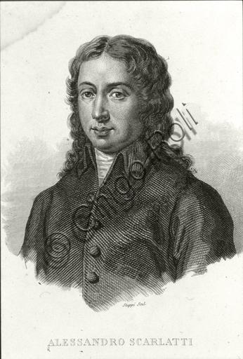"""Portrait of Alessandro Scarlatti"". Engraving."