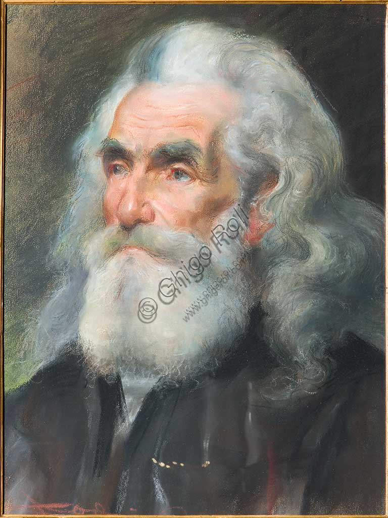 "Assicoop - Unipol Collection: Casimiro Jodi (1886-1948), ""Portrai of an Old Man"". Pastel, cm. 52x40."