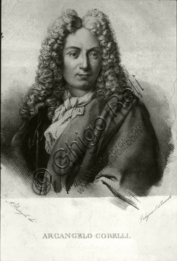 """Portrait of Arcangelo Corelli"". Engraving."