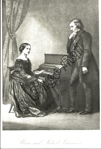 """""""Portrait of Clara and Robert Schumann at the piano"""". Engraving."""