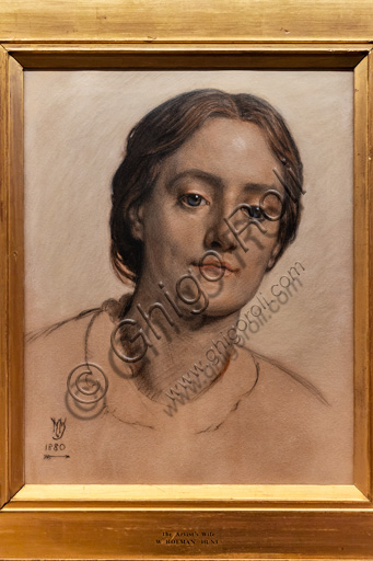 """""""Portrait of Edith Holman Hunt"""",  (1880)  by William Holman Hunt (1827 - 1910);  chalk and pastel on paper."""