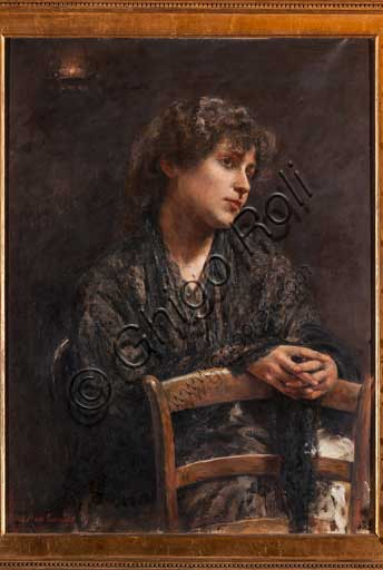 "Palermo, The Royal Palace or Palazzo dei Normanni (Palace of the Normans), R1, Assignments: ""Portrait of girl with a chair"", painting by Anna Maria Cariolato (1890)."