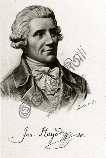 """""""Portrait of Franz Joseph Haydn"""". Lithograph based on a pencil - charcoal drawing."""