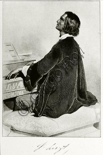 """""""Portrait of Franz Liszt"""", engraving."""