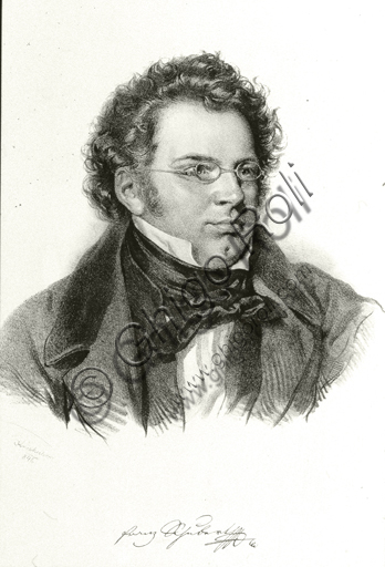 """""""Portrait of Franz  Schubert"""". Lithograph based on a pencil - charcoal drawing."""