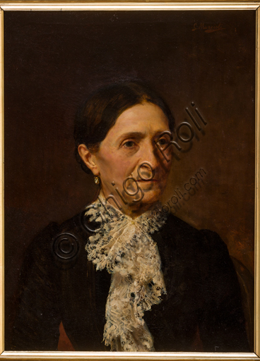 "Assicoop - Unipol Collection: Giovanni Muzzioli (1854 - 1894), ""Portrait of a gentlewoman"", oil painting on canvas."