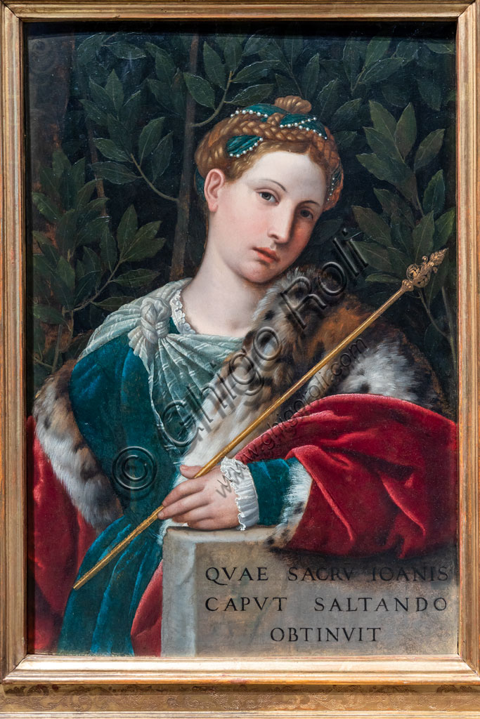 """Brescia, Pinacoteca Tosio Martinengo: """"Portrait of a gentlewoman as Salome"""", by Alessandro Bonvicino known as il Moretto, about 1537. Oil painting on panel."""