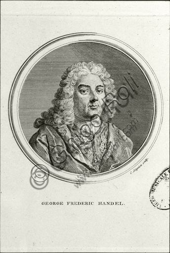 """""""Portrait of Georg Friedrich Händel"""". Engraving."""
