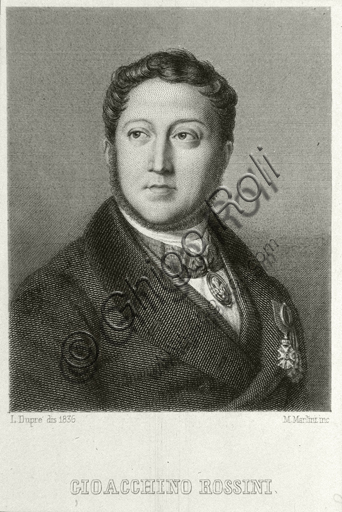 """""""Portrait of Gioacchino Rossini"""". Engraving by Augustin Dupré."""