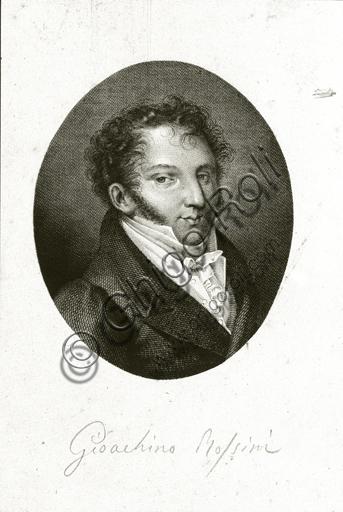 """""""Portrait of Gioacchino Rossini"""". Engraving ."""