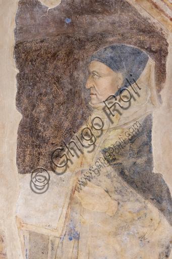 """""""Ritratto di Giovanni Boccaccio"""". Si tratta del più antico e fedele ritratto documentato di Boccaccio.Affreschi di Jacopo di Cione (fratello dell'Orcagna) su programma iconografico di Coluccio Salutati (1375-1406) conservati nel Palazzo dell'Arte dei Giudici e Notai, o del Proconsolo a Firenze."""