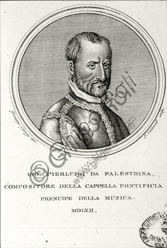 """""""Portrait of Giovanni Pierluigi da Palestrina"""". Engraving."""