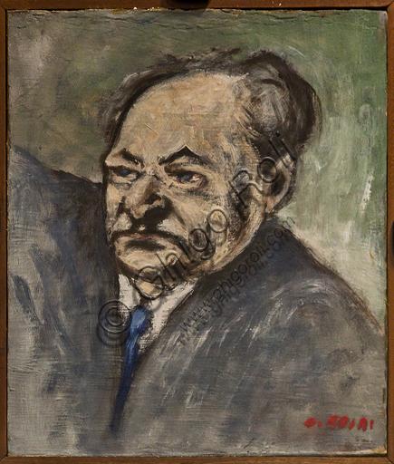 """Museo Novecento: """"Ritratto di Giuseppe Ungaretti"""", di Ottone Rosai, 1951. Olio su tavola."""
