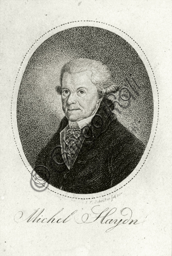 """Portrait of Johann Michael Haydn"", engraving."