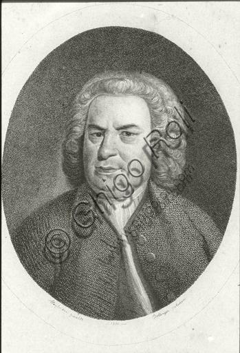 """Portrait of Johann Sebastian Bach"". Engraving."