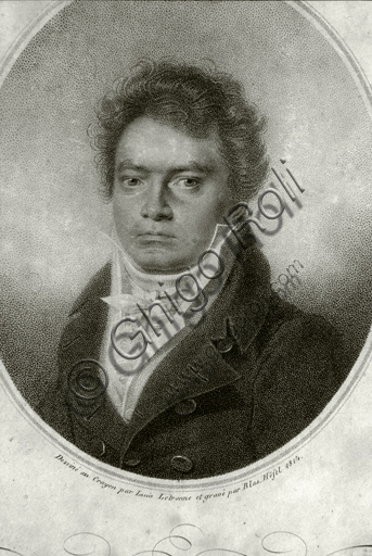 """""""Portrait of Ludwig van Beethoven"""", engraving based on a drawing by Louis Letronne."""