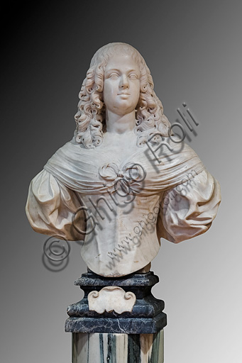 """Fontanellato, Labirinto della Masone, Collezione di Franco Maria Ricci: """"Ritratto di Marie Madeleine de Vignerod"""", di Philippe de Champaigne, busto in marmo."""