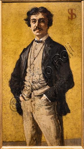 "Telemaco Signorini: ""The Portrait of Maurizio Angeli "", 1881, oil painting on cardboard."