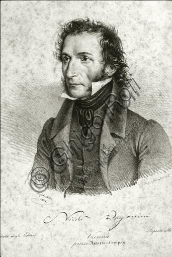"""""""Portrait of Niccolò Paganini"""", engraving at Artaria."""