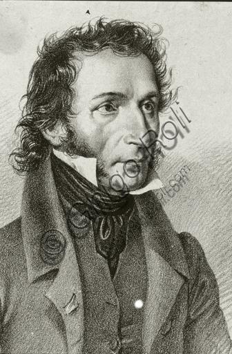 """""""Portrait of Niccolò Paganini"""", lithograph."""