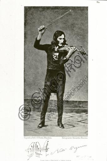 """Portrait of Niccolò Paganini playing the violin, heliogravure."