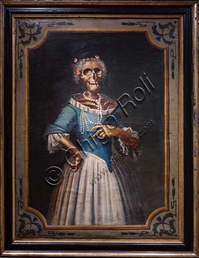 """Bergamo, Museo Bernareggi: """"Portrait of a gentlewoman"""", oil painting, by Bergamo artist (XVIII century).From the mid- eighteenth century, the territory of Bergamo,  the Sacred Triduum of the Deadwas introduced. This solemn celebration, lasting three days,   generally fell during the  winter months , when the break from work in the fields could allow a wide participation . On this occasion, the preaching concerned the last four events which man encounters at the end of his life: death , judgment, heaven or hell . In the church a series of paintings depicting dressed skeletons were hung. They were supposed to remindthe faithful of equality before the death , the vanity of worldly goods and the transience of earthly life."""