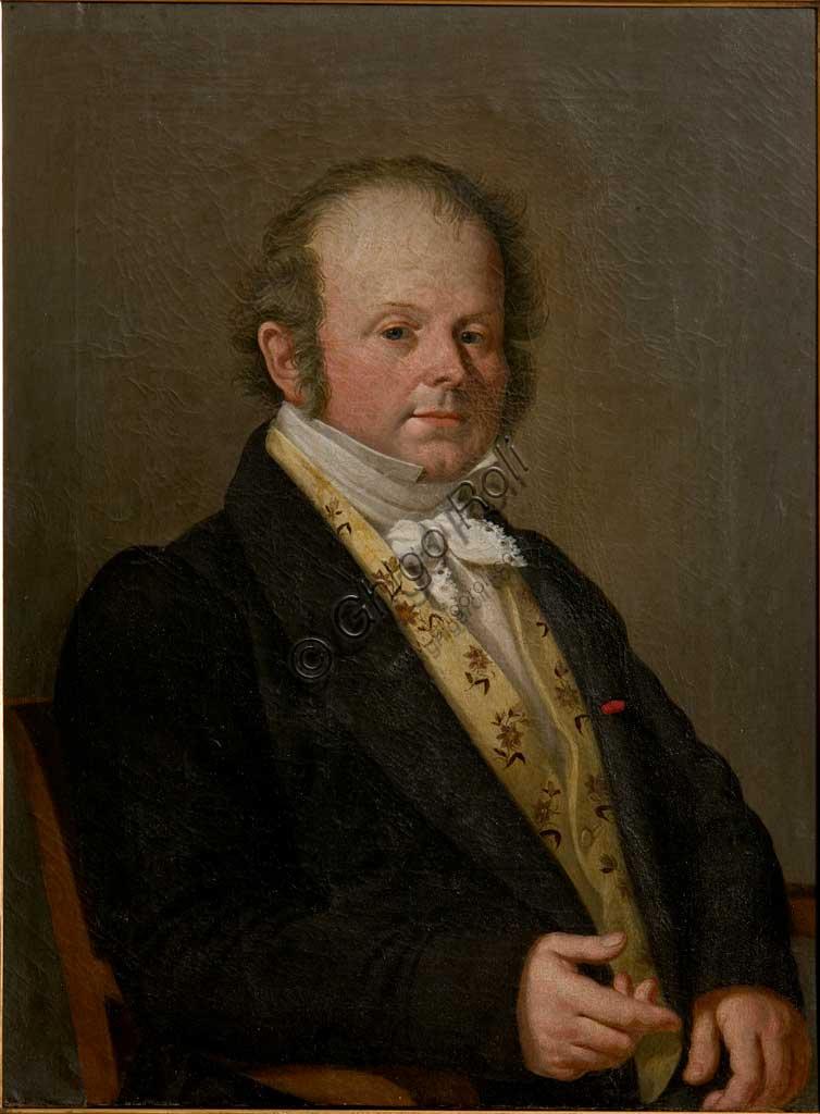 """Collezione Assicoop-Unipol:  Giuseppe Fantaguzzi (1771-1837), """"Ritratto di Nobiluomo"""". Olio su tela, cm 60 x 53."""
