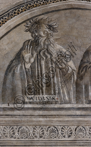 """""""Portrait of Ovid"""". Orvieto, MODO (Museum of the Opera of the  Duomo of Orvieto): Alberi Library, a cycle of monochrome frescoes where famous classical masters of different subjects are represented (law, medicine, astronomy, grammar), attributed to Luca Signorelli's pupils, 1501-1503."""