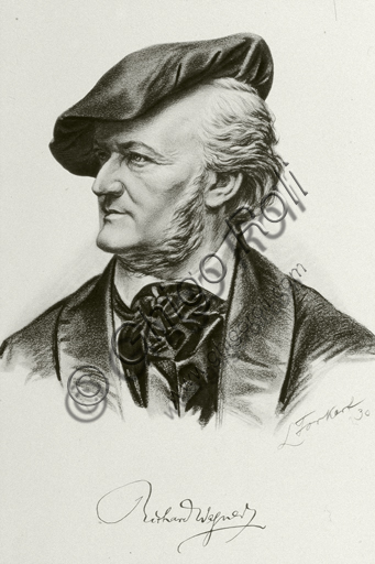 """""""Portrait of Richard Wagner"""". Lithograph based on a pencil - charcoal drawing."""
