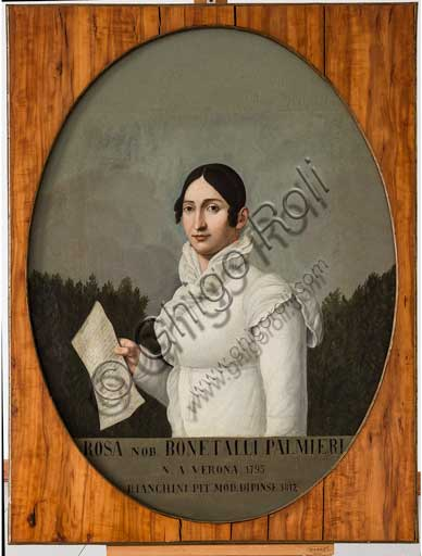 "Assicoop - Unipol Collection: Ippolito Bianchini Ciarlini (1767 - 1849); ""Portrait of Rosa Bonetalli Palmieri"", oil painting on canvas, 109 x 82."