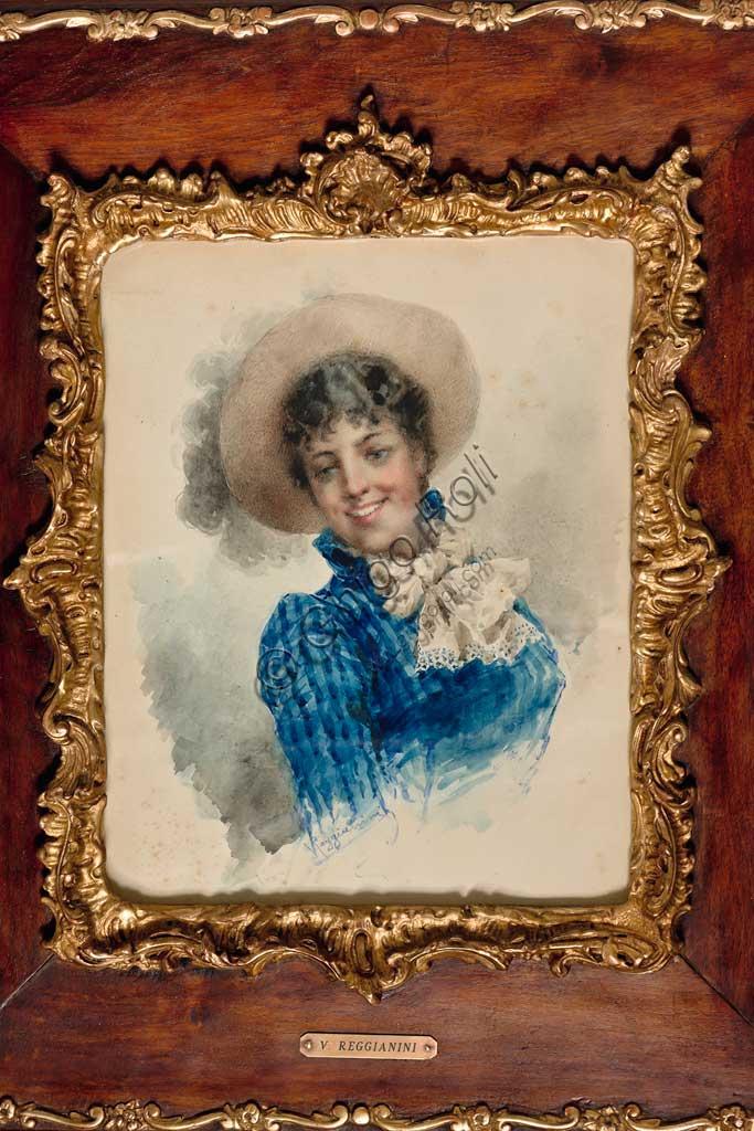 """Assicoop - Unipol Collection:  Vittorio Reggianini (1853 - 1910),""""Portrait of a Lady""""; watercolour, cm. 30,5 x 24."""
