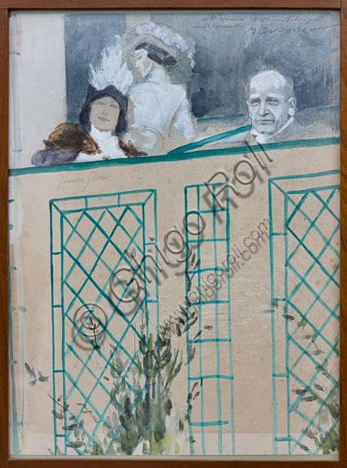 """""""Portrait of Tito Ricordi and Donna Franca Florio"""", by Marcello Dudovich, sketch in tempera on paper."""