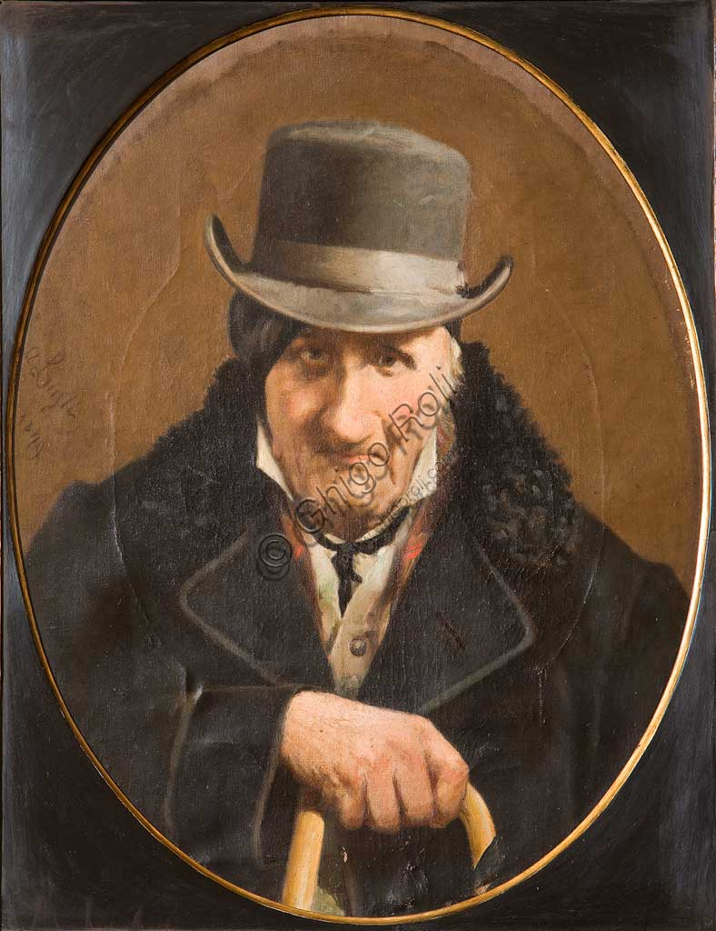 """Collezione Assicoop - Unipol: Luigi Albano (1834-1914), """"Ritratto di uomo"""". Olio su tela - ovale, cm. 64,5x51,5."""