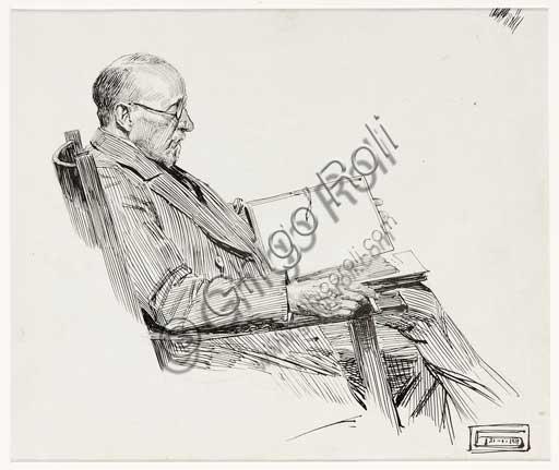 "Assicoop - Unipol Collection: Dario Gobbi, ""Portrait of a Sitting Man who is Reading""."