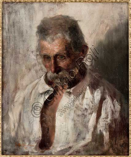 "Assicoop - Unipol Collection: Gaetano Bellei (1857 - 1922), ""Portrait of an Old Man"". Oil painting on canvas. 1909."
