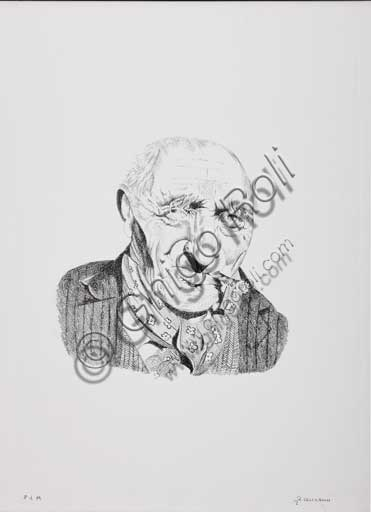 "Assicoop - Unipol Collection:Remo Zanerini (1923 -), ""Portrait of an Old Man smoking a Cigar"". Lithograph"