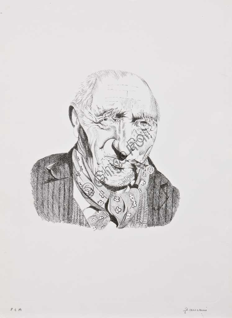 "Assicoop - Unipol Collection:Remo Zanerini, ""Portrait of an Old Man with Cigar"", Lithograph."