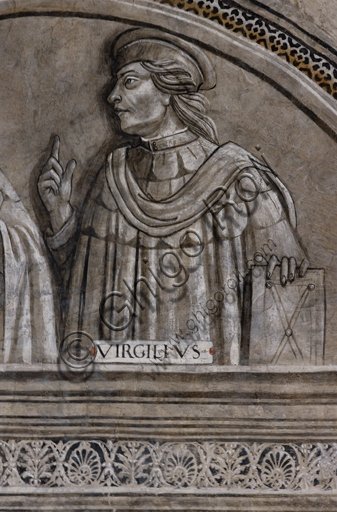 """""""Portrait of Virgil"""". Orvieto, MODO (Museum of the Opera of the  Duomo of Orvieto): Alberi Library, a cycle of monochrome frescoes where famous classical masters of different subjects are represented (law, medicine, astronomy, grammar), attributed to Luca Signorelli's pupils, 1501-1503."""