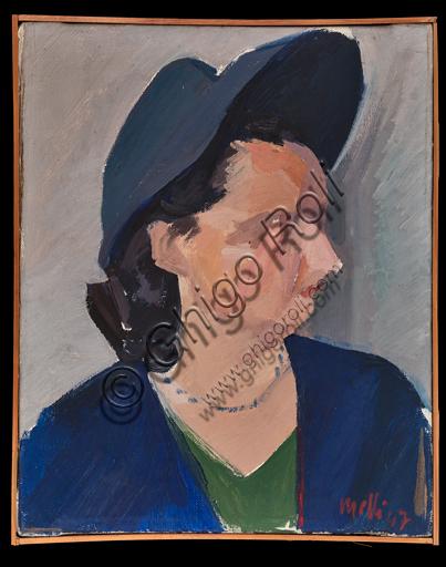 "Roberto Melli, (1885-1958): ""Female Portrait""; Oil painting on canvas, cm. 40 × 33."