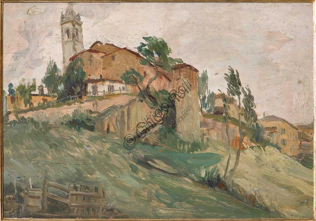 """Collezione Assicoop - Unipol: Giuseppe Graziosi (1879-1942), """"La Rocca di Savignano"""". Olio su compensato, cm. 40 x 60."""