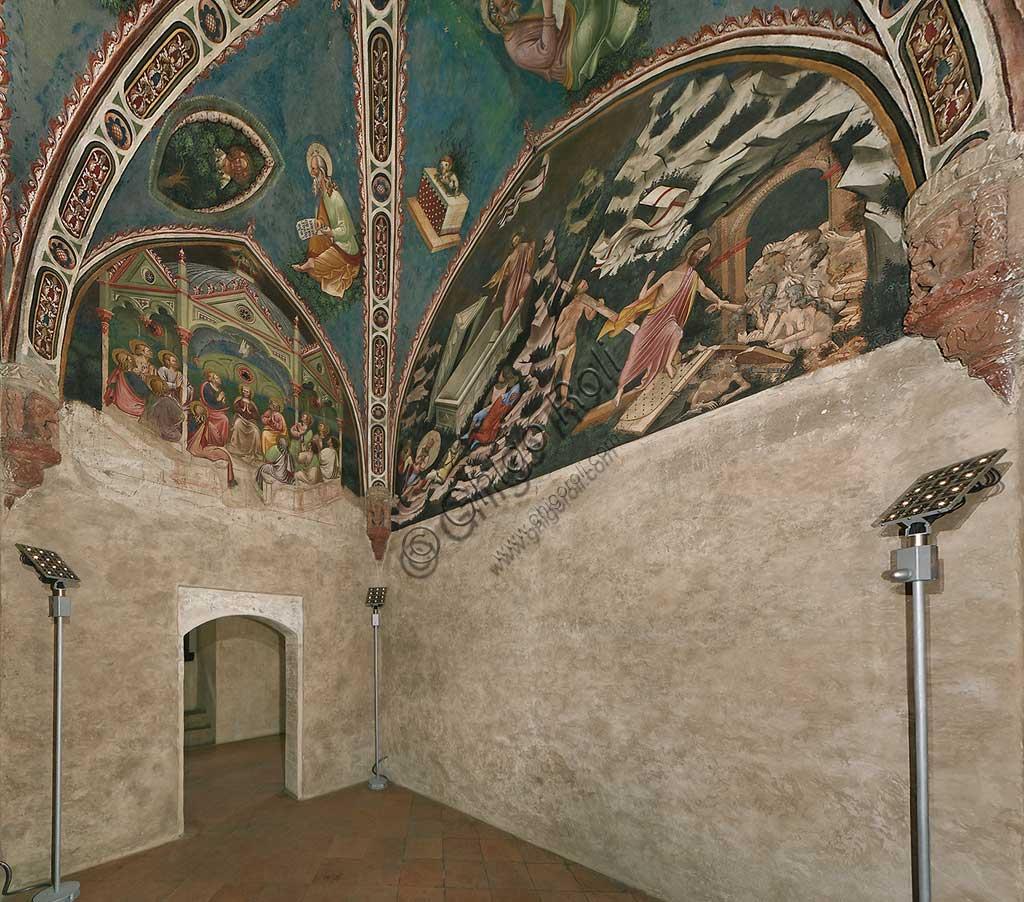 Rocca di Vignola, Cappella Contrari: veduta della cappella con affreschi del Maestro di Vignola, anni Venti del Quattrocento.