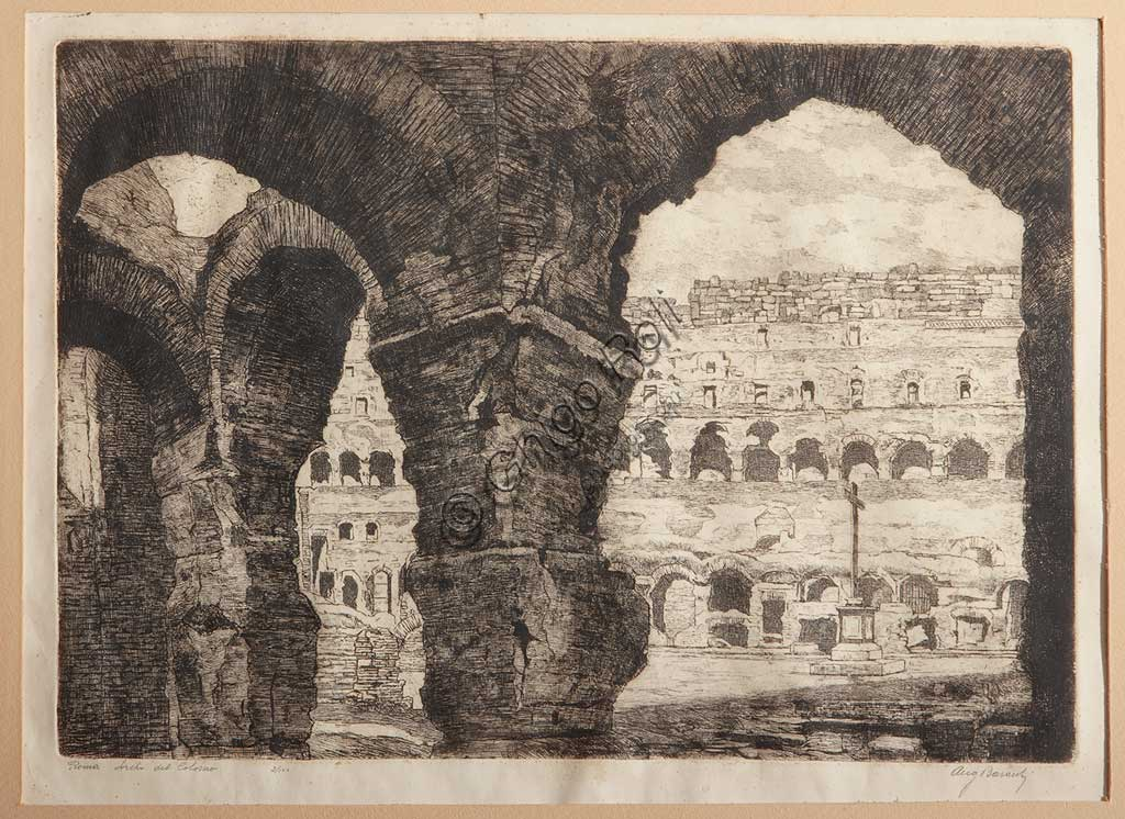 "Assicoop - Unipol Collection: Augusto Baracchi (1878 - 1942), ""Rome, the Coliseum Arches"", etching on paper."