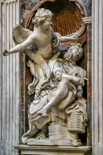 Rome, Basilica of St. Maria del Popolo, Chigi Chapel: Habakkuk and the Angel, by Gian Lorenzo Bernini (1656 - 61).