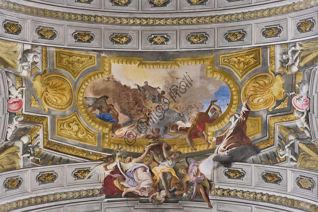"""Roma, Chiesa di S. Ignazio di Loyola, interno, transetto: """"Visione di S. Luigi Gonzaga in Gloria, vissuta da Santa Maria Maddalena de' Pazzi"""", affresco  di Andrea Pozzo, 1685."""