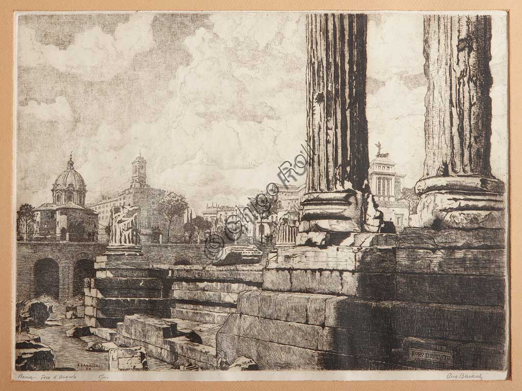 "Assicoop - Unipol Collection: Augusto Baracchi (1878 - 1942), ""Rome, The Forum of Augustus"", etching on paper."