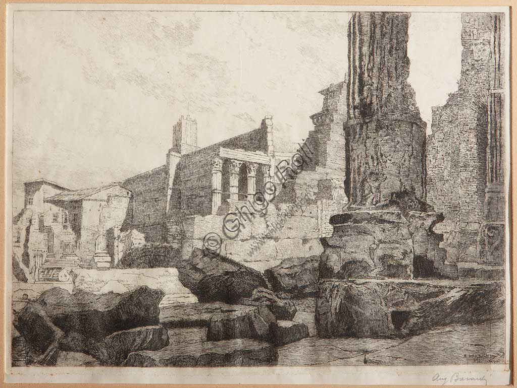 "Assicoop - Unipol Collection: Augusto Baracchi (1878 - 1942), ""Rome, The Forum of Augustus, The Temple of Mars Ultore"", etching on paper."