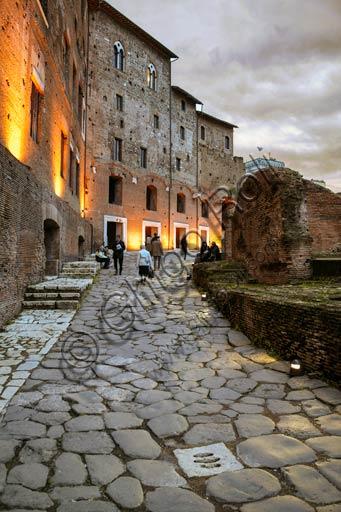 Rome, Trajan's Market (Mercatus Traiani): evening view of via Biberatica.