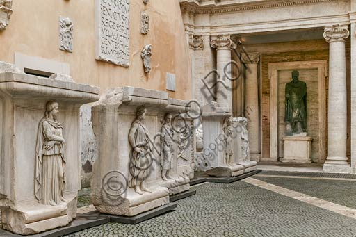 Rome, Capitolines Museums, courtyard of Palazzo dei Conservatori: remains of the cell decoration from the Temple of the God Hadrian, with reliefs portraying the Provinces of the Roman empire and military trophies.