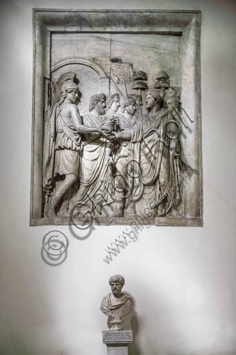 Rome, Capitoline Museums: marble relief depicting Emperor Marcus Aurelius who pardons the defeated enemies.
