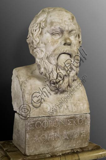 Rome, Capitoline Museums: Bust of Socrates, Greek philosopher, Roman reproduction of a Greek statue of the 4th Century BC.